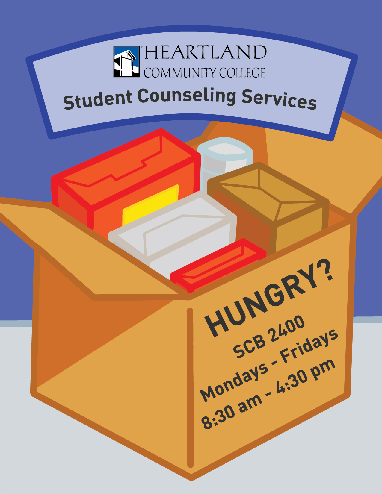 Request a food box from Student Counseling Services in SCB 2400. Monday through Friday 8:30 AM - 4:30 PM